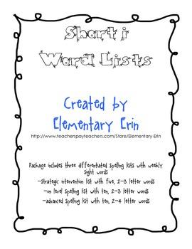 Short i Differentiated Word List Reading Street Unit 1, Week 2