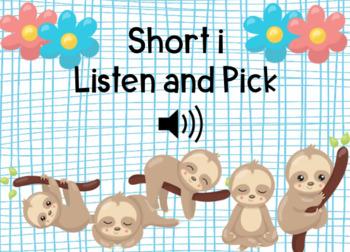 Short i Listen and Pick Boom Cards Self-Checking Digital Task Cards#backwithboom