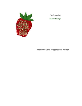 Short i Long i Strawberry File Folder Game