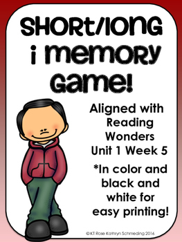 Short i/Long i_e Memory Game---Aligned with Reading Wonders Unit 1 Week 5