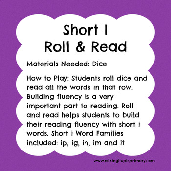 Short i - Roll and Read