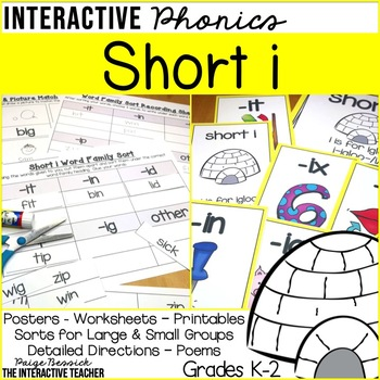 Short i Vowel Activities-Sorts and Worksheets