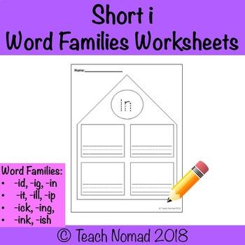 Short i Word Families Worksheets