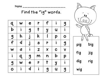 Short i Word Families { in, ig, ip } Bundle Set