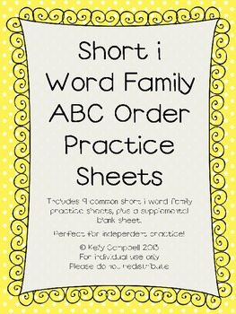 Short i Word Family ABC Order Practice Sheets