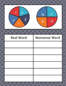 Short i Word Family Spinner Game (Real vs. Nonsense Words)