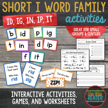 Short i Word Family Word Builder Cards