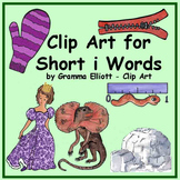 Short i Words Clip Art in Realistic Color and Black Line