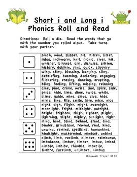 Short i and Long i Phonics Roll and Read