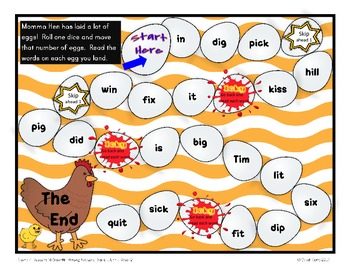 Short /i/ game board for McGraw-Hill Reading Wonders Grade 1, Unit 1, Week 2