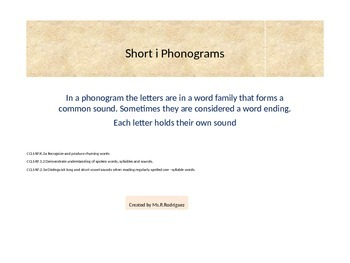Short i phonograms