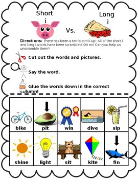 Short 'i' vs. Long 'i' Cut and Paste Activity