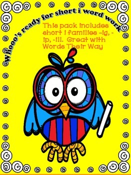 Short i word work pack -ill, -ig, -ip