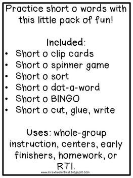 First Grade Phonics: Short o Games