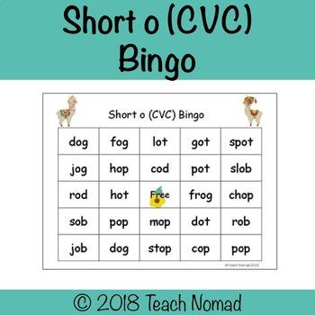 Short o Bingo (CVC)