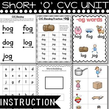 Short o CVC UNIT Word Work