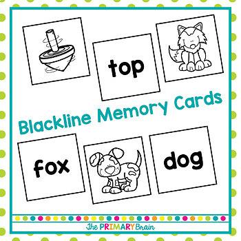 Short o CVC Word Memory Match Game
