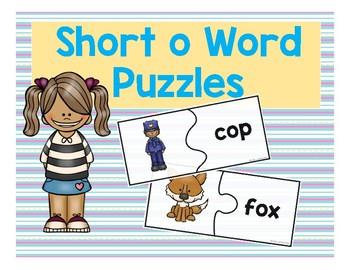 Short O CVC Word Puzzles
