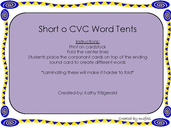 Short o CVC Word Tents