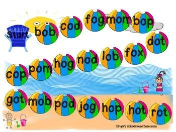 Short o CVC Words at the Beach Board Game