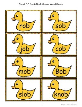 """Short """"o"""" Duck-Duck-Goose Word Game"""