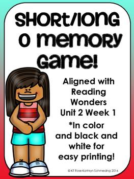 Short o/Long o_e Memory Game---Aligned with Reading Wonders Unit 2 Week 1