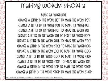 Short /o/ Making Words