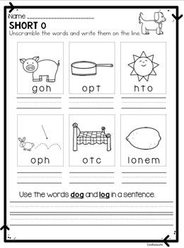 Short o Phonics Passage and Word Work