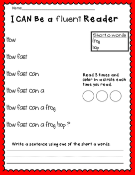 Short o Reading Fluency Pyramids