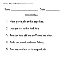 Short o Sentences