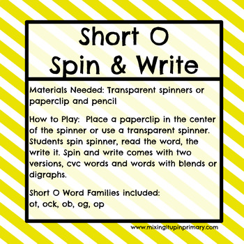 Short o - Spin and Write