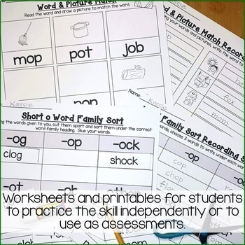 Short o Word Work Activities-Sorts and Worksheets | TpT