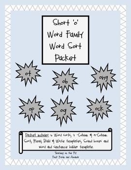 Short 'o' Vowel Word Sort Packet