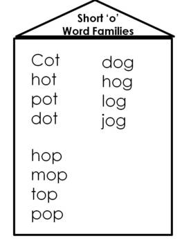 "Short ""o"" Word Familes CVC Word Building Activity"