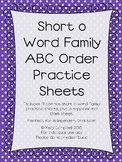Short o Word Family ABC Order Practice Sheets
