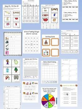 Short o Word Family Centers Bundle: CVC Bingo, Spinner, Sorting Cards & MORE!