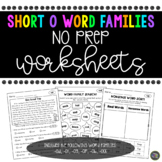 Short o Word Family No Prep Worksheets