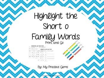 Word Family Short o