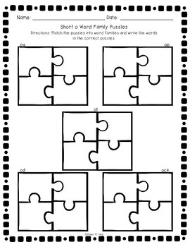 Short o Word Family Puzzles