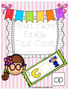 Short -o Word Family Task Cards