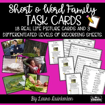 Short o Word Family Task Cards Write The Room