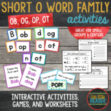 Short o Word Family Word Builder Cards
