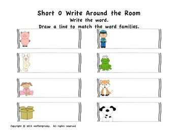 Short o  Word Family Write Around the Room