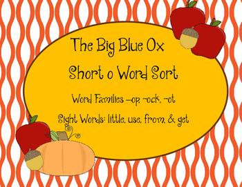 Short o Word Sort, The Big Blue Ox
