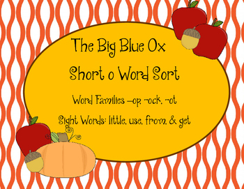 Short o Word Sort, The Big Blue Ox