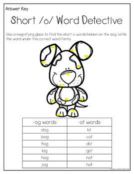 Short o Word Work Activities and Centers