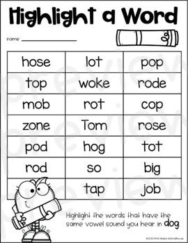 Short O Word Work By First Grade Schoolhouse Teachers