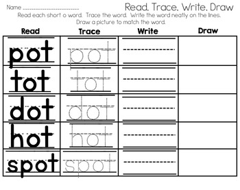Short o Word Work Packet