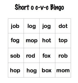Short o cvc bundle - worksheet and bingo game