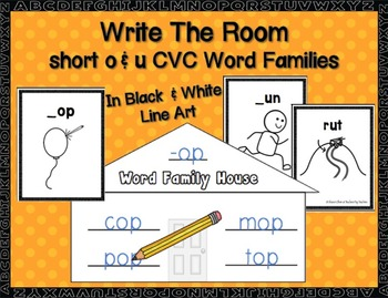 Short o & u  CVC Word Families Write-the-Room in B&W
